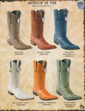 ID#RXX3 3X-Toe Genuine Ostrich western  Boots Diff. Colors/Sizes