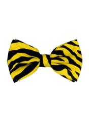 ID#DB21251 Yellow and Black Zebra Pattern Design Bow Groomsmen Ties