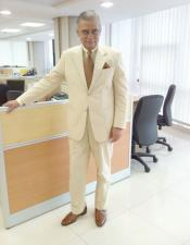 ID#VI20116 Yellow Canary Cotton 2 Button Seersucker Suit (Blazer and Pants)