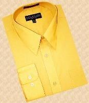Gold~Yellow~Mustard Cotton Blend Dress Cheap Fashion Clearance Shirt Sale Online For Men With Convertible Cuffs