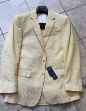 ID#IS19854 Cotton Blend Seersucker Sear sucker suit Modern Fit Yellow Striped Wedding Suits For Men For Sale Flat Front Pants