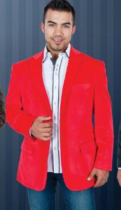 ID#YT6367 red pastel color  Velvet Sportcoat Jacket Jackets for