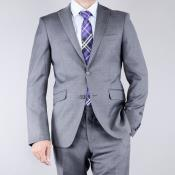 patterned Grey 2-Button Slim-Fit