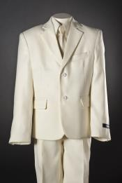 Children Kids Boys 5 Piece Two buttons Ivory Suit
