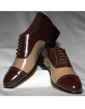 Toe Dark Brown~Taupe Leather