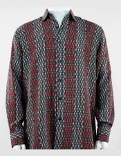 Pattern Collar Neck Burgundy