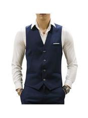 Button Causal Suit Vests