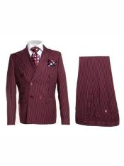 Breasted Burgundy Pinstripe Peak