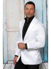 ID#SP25301 White Solid Blazer ~ Suit Jacket ~ Sport Coat Shiny Flashy Affordable Cheap Priced Unique Fancy For Men Available Big Sizes on sale Satin Notch Lapel Available In