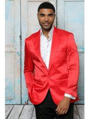 ID#SP25305 Red Sport Coat ~ Shiny Flashy Satin Available in Two buttons Affordable Cheap Priced Unique Fancy For Men Available Big Sizes on sale Notch Lapel Solid Blazer Sin