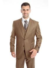 Lapel Taupe Three Piece