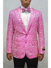 Alberto Nardoni Unique Floral ~ Affordable Cheap Priced Unique Fancy For Men Available Big Sizes on sale Fancy Fuchsia Fashion Paisley Blazer Sport Coat + Matching Bow Tie Perfect For Wedding & Prom
