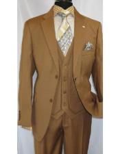 ID#SP25350 Two Button Falcone Mustard  Polyester ~ Rayon Notch Lapel Suit