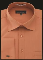 ID#SP25367 Orange Rounded Neck Type Collar Avanti Uomo French Cuff Shirt