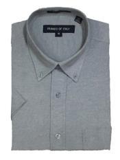 Button Down Shirts Cotton Blend Oxford Gray Short Sleeve