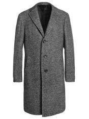 ID#SP25412  Notch Lapel Full Length Tweed Herringbone Gray Overcoat