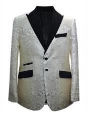 Cream ~ Ivory + Matching Bow Tie Alberto Nardoni Trendy Unique Prom Blazers Sparkly Floral ~ Flower Two Toned Available Big Sizes