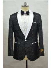 Shawl Lapel Mens Black-White