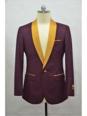 ID#SP25459 One Chest Pocket Shawl Lapel Affordable Cheap Priced Unique Fancy For Men Available Big Sizes on sale One Button Burgundy-Gold Flap Blazer