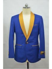 ID#SP25465 Shawl Lapel Four Button Affordable Cheap Priced Unique Fancy For Men Available Big Sizes on sale Cuff  RoyalBlue-Gold One Button Blazer