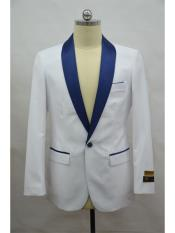 One Button White-NavyBlue Blazer