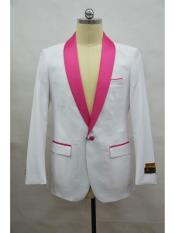 ID#SP25468 White-Fuschia Shawl Lapel Affordable Cheap Priced Unique Fancy For Men Available Big Sizes on sale One Button  Flap Men's Blazer ~ Suit Jacket