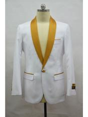 ID#SP25469 One Button Flap Two Pockets Shawl Lapel Affordable Cheap Priced Unique Fancy For Men Available Big Sizes on sale Men's White-Gold  Blazer ~ Suit Jacket