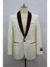 Dinner Jacket Mens Ivory-Burgundy