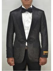 ID#SP25475 Alberto Nardoni Dinner Smoking Jacket Blazer Sport Jacket Paisley ~ Floral ~ Affordable Cheap Priced Unique Fancy For Men Available Big Sizes on sale Fashion Prom Shiny Pattern Black ~ Black Tuxedo