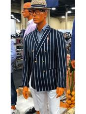 Five Button Double Breasted Striped Pattern Navy Blue Blazer