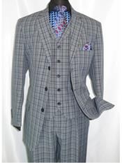 ID#SP25487 1920's Style Plaid ~ Window ~ Checker Pane 2 Button Vested Navy Suit Three Piece Three Button Mens Suits Pleated Pants