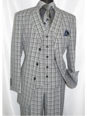 ID#SP25489 Black ~ Grey1920's Style Plaid ~ Window ~ Checker Pane Three Buttons Style Vested Suit 3 Piece 3 Button Mens Suits Pleated Pants