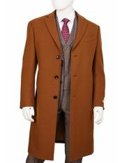 ID#SP25496 Mens  Regular Fit Wool ~ Poly Blend Camel Overcoat