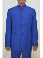 ID#SP25507 One Chest Pocket Mens Eight Button Mandarin Banded Collar Royal Blue Suits