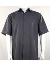 ID#SP25584 Mens Bassiri Button Down Short Sleeve Shadow Squares Grey Shirt