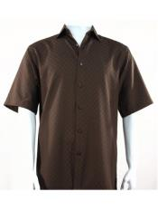 Shadow Squares Chocolate Button Down Short Sleeve men's Bassiri Shirt
