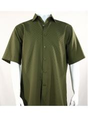 ID#SP25587 Mens Bassiri Shadow Squares Olive Button Down Short Sleeve Shirt