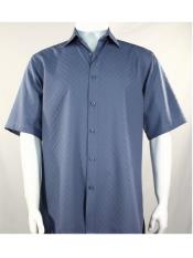 ID#SP25588 Short Sleeve Button Down Shadow Squares Blue Mens Bassiri Shirt