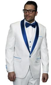 ID#SP25608 men's Alberto Nardoni Dark Navy Blue Jacket Wedding ~ Prom White Tuxedo Vested Suit