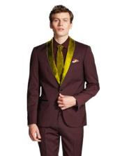 Shawl Lapel  Burgundy/Gold