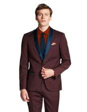 ID#SP25665 Maroon/Navy ~ Wine ~ Maroon Color Mens Shawl Lapel Tuxedo - Burgundy Suit