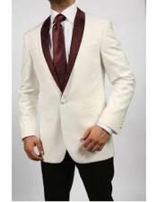 Breasted Mens Blazer Ivory/Burgundy