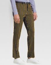 ID#SP25679 Mens Slacks Black Ganagster Chalk Striped Flat Front Pant
