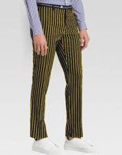 ID#SP25680 Chalk Striped Slim Fit Suit Dark Gold Ganagster Slacks Mens Dress Pants