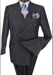 ID#SP25691 Alberto Nardoni Navy Blue And Gold Pinstripe ~ Stripe Double Breasted Super 150'S Wool Su