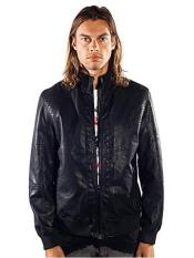 ID#SP25703 Mens Barabas Dodge Regular Fit Black Jacket Zipper Pockets