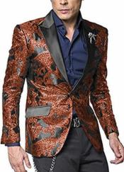 ID#SP25708 Alberto Nardoni Shiny Jacket Hot Burn Orange ~ Rust ~ Copper Paisley Blazer