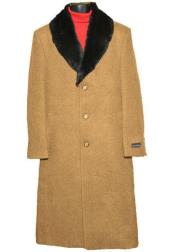 ID#SP25757 Coat Up To Size 68 Regular Fit Camel Mens Big and Tall Large Man ~ Plus Size Wool Overcoat Long Mens Dress Topcoat -  Winter coat Outerwear