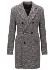 ID#SP25767 Mens Double Breasted Gray Herringbone Tweed Six Button Overcoat