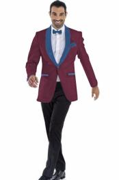 Pockets Mens Blazer Burgundy